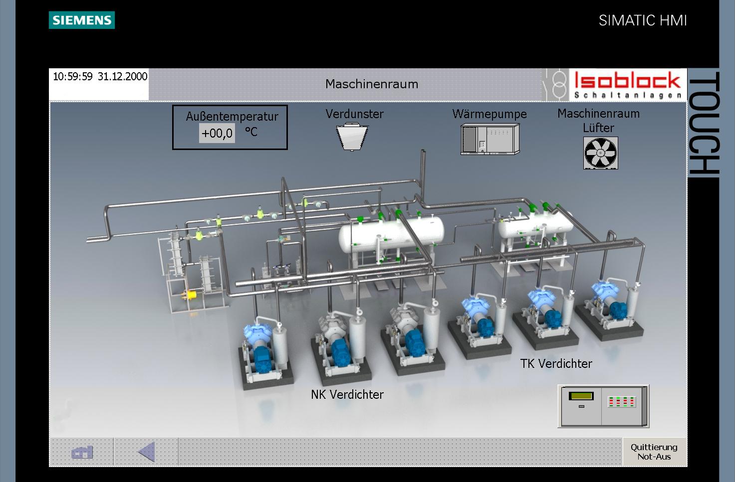 Visualisierung Siemens Wärmepumpe Verdunster TK Verdichter NK Verdichter Außentemperatur Not aus Maschinenraum Simatic HMI Verdampfer TIA Portal_Isoblock_SPS-Schaltanlagen 2014