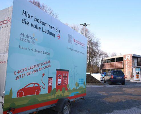 kostenfreies laden Ihres Elektroautos am Westfahhlendamm in Dortmund während der Elektrotechnik Messe gesponsert durch Isoblock Schaltanlagen